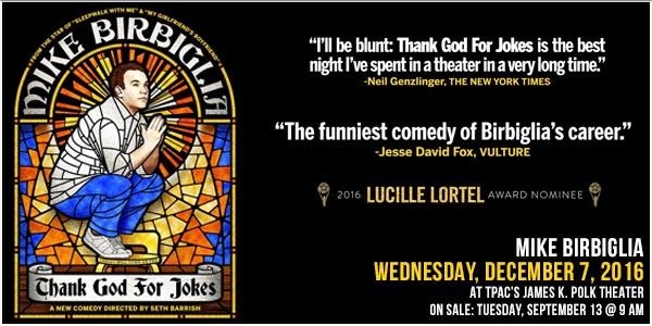 Mike Birbiglia Thank God for Jokes Wednesday, December 7, 2016 at TPAC's James K Polk Theater Nashville, TN
